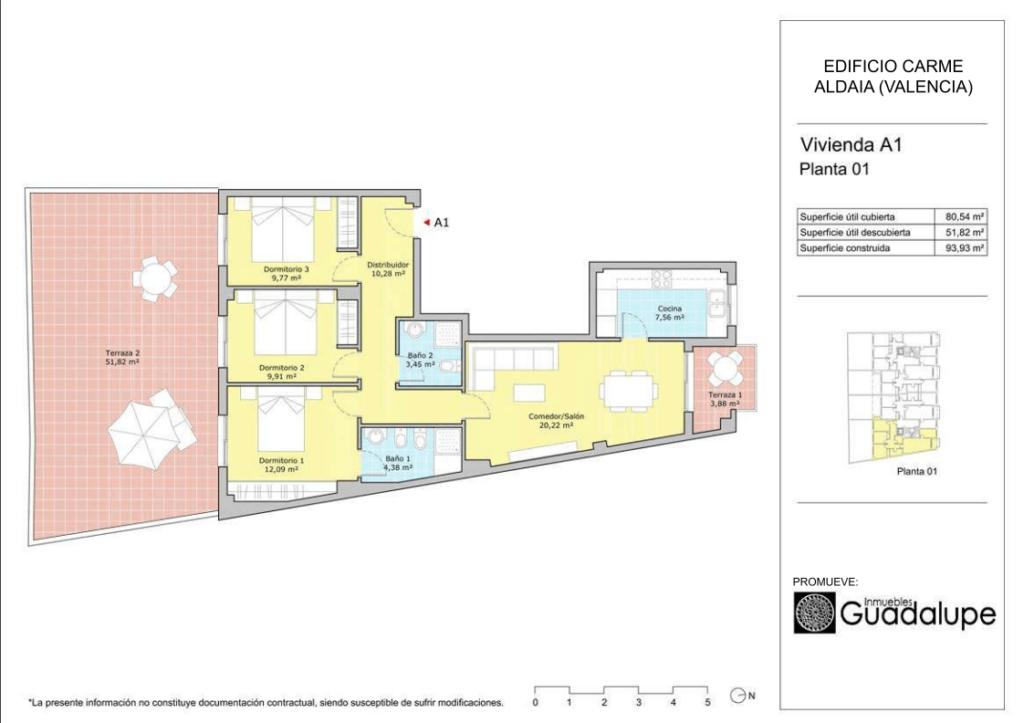 Plano vivienda Aldaia Orientación A1